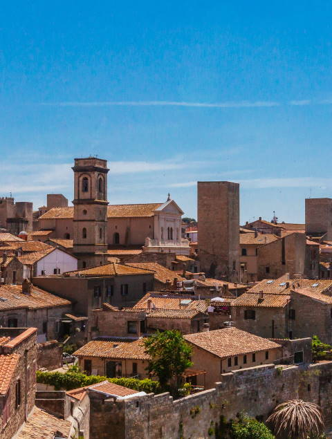 Panoramic view of the houses of the town of Tarquinia, Italy